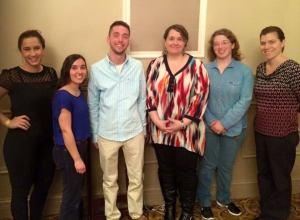 left to right: Ale Toniazzo, Katherine Pustejovesky, Ryan Prochaska, Jennifer Simmering, Anna Headley, and Professor Marifaith Mueller.