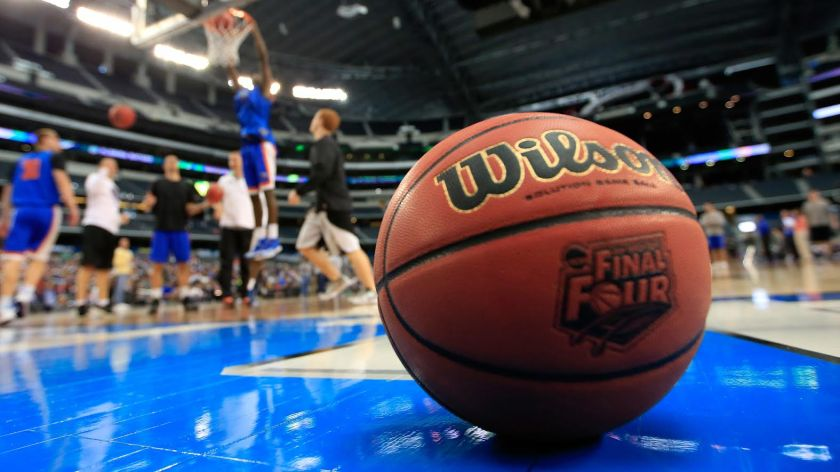 ARLINGTON, TX - APRIL 04: The Wilson basketball with the Final Four logo is seen as the Florida Gators practice ahead of the 2014 NCAA Men's Final Four at AT&T Stadium on April 4, 2014 in Arlington, Texas. (Photo by Jamie Squire/Getty Images)